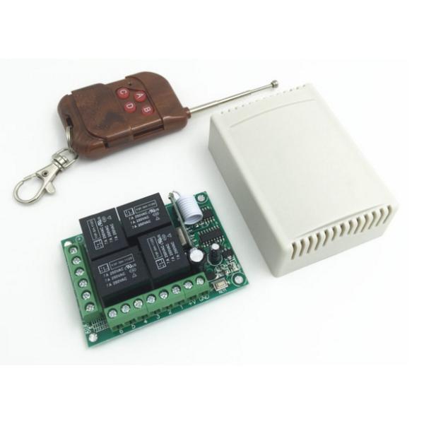 Блок реле 4 канала с RF пультом-брелком, 433 мГц 10А