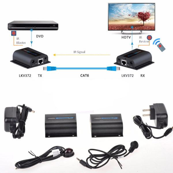 HDMI Удлинитель по витой паре, 60 м, IR Lenkeng, LKV372A