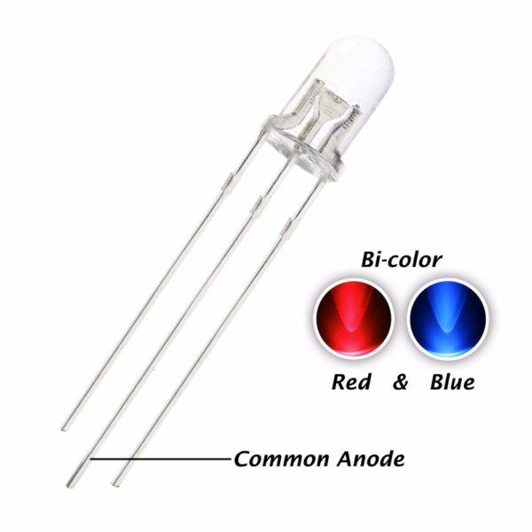 Светодиод: 5 мм красный-синий (общий анод)