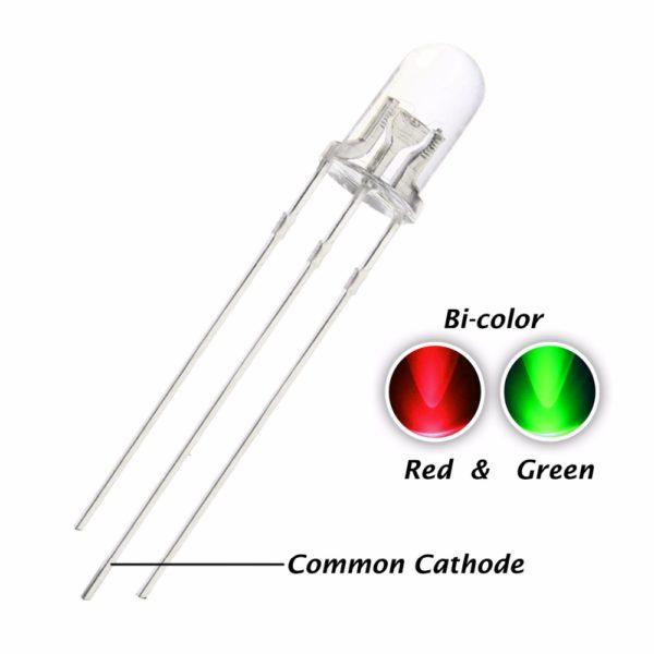 Светодиод: 5 мм красный-зелёный (общий катод)