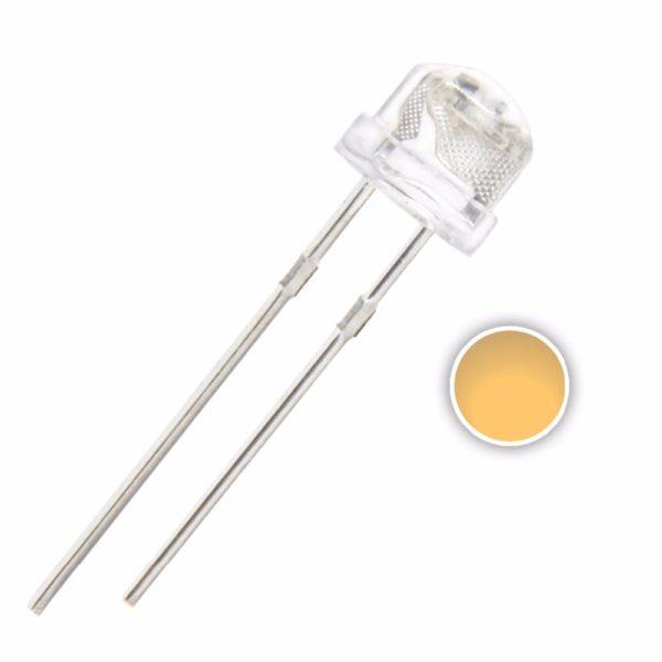 Светодиод: 5 мм белый тёплый (120 градусов)
