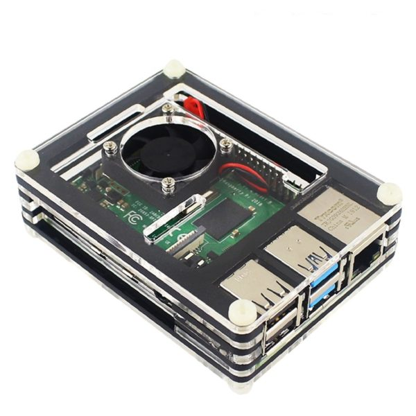 Корпус для Raspberry Pi 4 Model B многослойный с вентилятором
